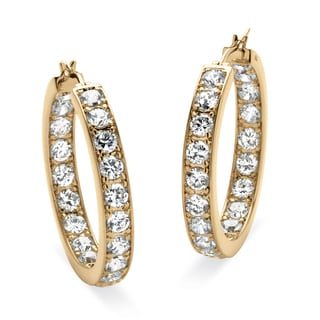 PalmBeach 9.50 TCW Round Cubic Zirconia 14k Yellow Gold-Plated Inside-Out Hoop Earrings Classic CZ