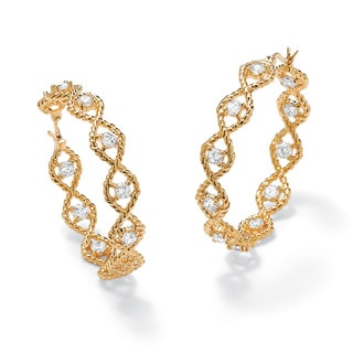 PalmBeach 3.30 TCW Round Cubic Zirconia 14k Yellow Gold-Plated Inside-Out Twisted Hoop Earrings Glam CZ