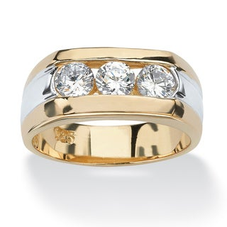 Link to Men's 1.50 TCW Channel-Set Cubic Zirconia 18k Gold over Sterling Silver Triple-Stone Ring Similar Items in Men's Jewelry