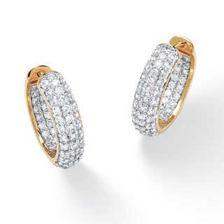 3.21 TCW Round Cubic Zirconia 14k Gold-Plated Huggie-Style Inside-Out Hoop Earrings Classi