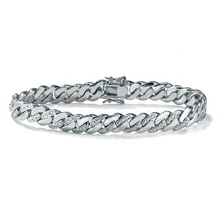 "Men's Platinum-Plated 9mm Curb-Link Bracelet (8.5"" Long)"