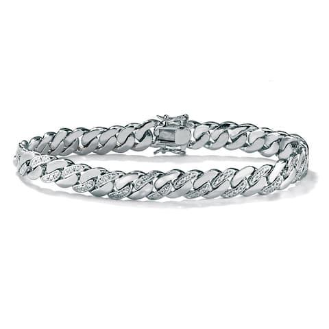 """Men's Platinum-Plated 9mm Curb-Link Bracelet (8.5"""" Long)"""