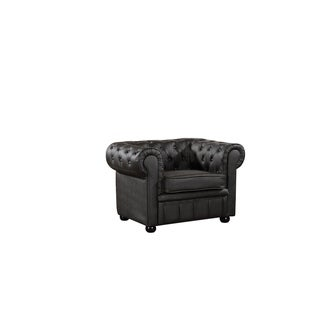 Chesterfield Style Genuine Brown Leather Armchair - AVIGNON