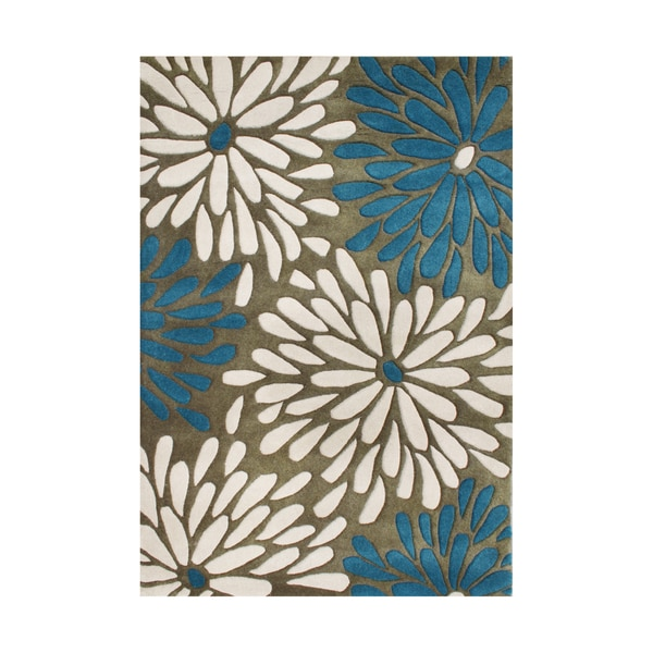 Alliyah Hand-tufted Olive Floral Wool Rug (9' x 12')