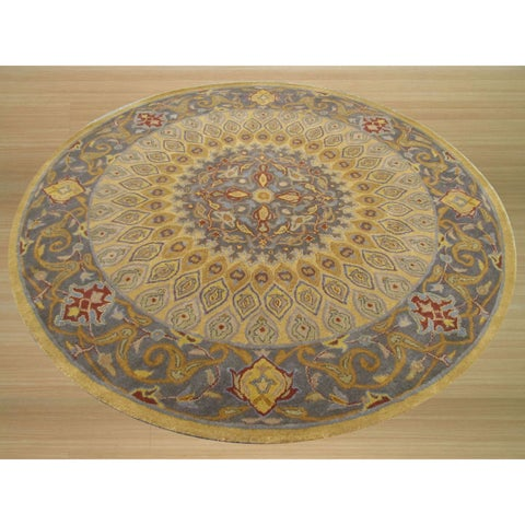 Hand-tufted Wool Gold Traditional Oriental Gombad Rug (6' Round) - 6' Round