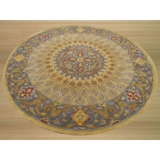 Hand-tufted Wool Gold Traditional Oriental Gombad Rug (6' Round)