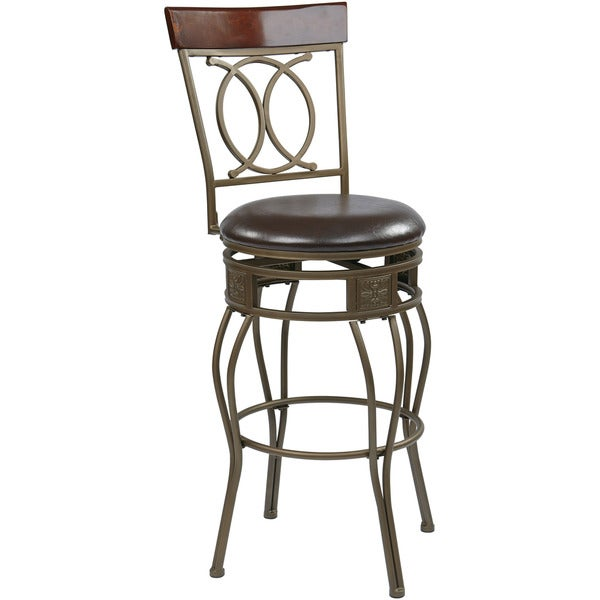 Cosmo Metal Grey Ash Frame Swivel 30 Inch Bar Stool Free