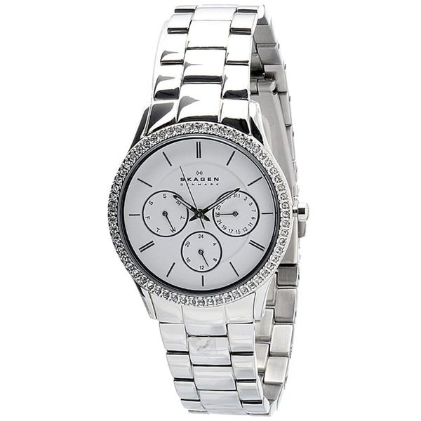 Skagen Women's Mother of Pearl Dial Crystal-accented Chronograph Watch