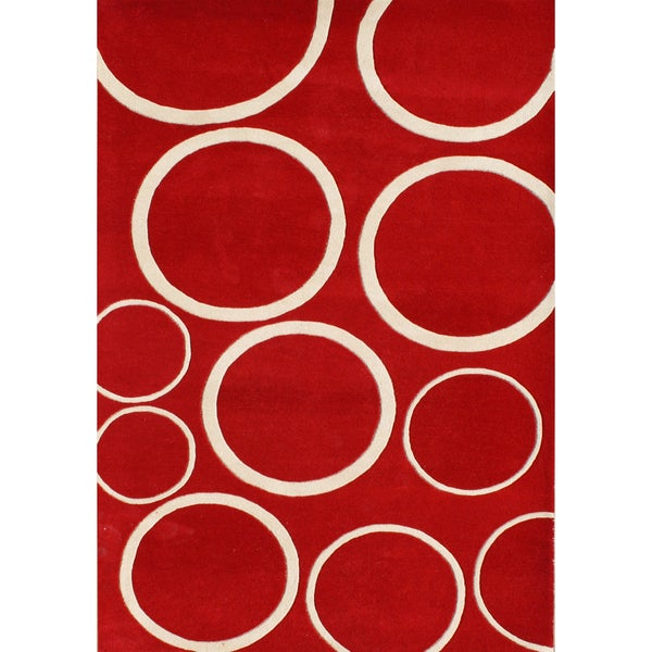 Alliyah Handmade Red Circle New Zealand Blend Wool Rug (9' x 12')