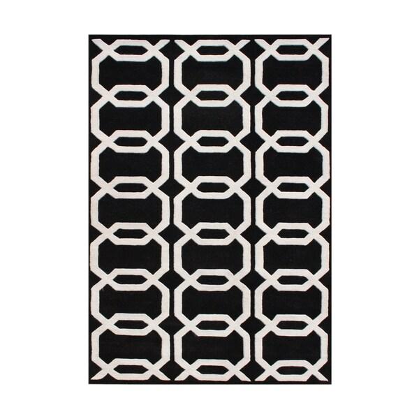 Alliyah Hand-tufted Black Floridly New Zealand Wool Rug (9' x 12')