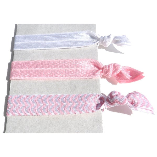 Boutique White and Pink 3-piece Ponytail Hair Tie Set