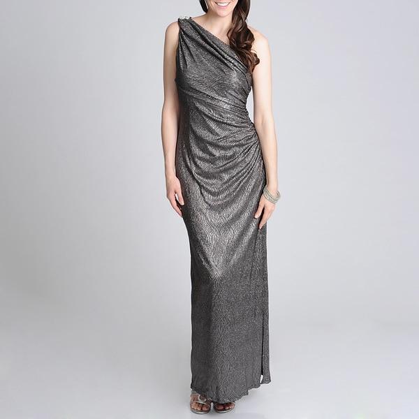 Betsy & Adam Women's One Shoulder Evening Gown