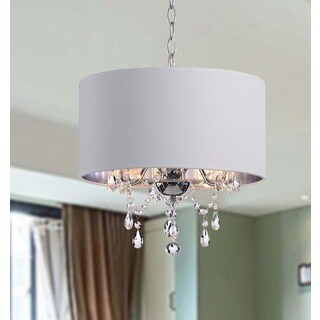 Silver Orchid Taylor Indoor 3-light White/ Chrome Pendant Chandelier