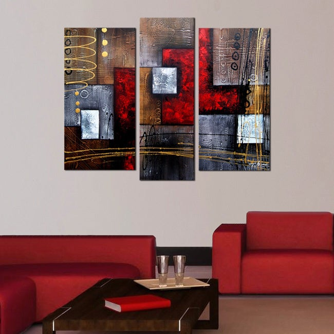 'Abstract 407' Hand Painted 3-piece Gallery-wrapped Canva...