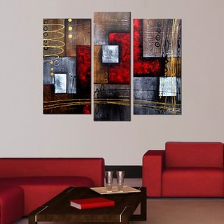'Abstract 407' 3-piece Gallery-wrapped Hand Painted Canvas Art Set