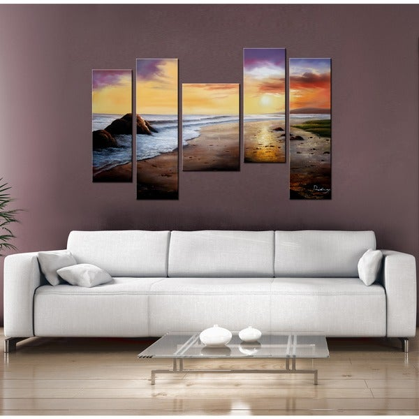 shop 39 tranquil beach 39 5 piece gallery wrapped hand painted canvas art set free shipping today. Black Bedroom Furniture Sets. Home Design Ideas