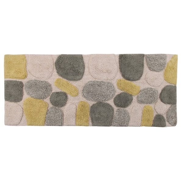 Rockway Pebbles Cotton X Bath Runner With BONUS Step Out Mat - Bathroom rug runner 24x60 for bathroom decor ideas