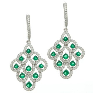 Sterling Silver Green and White Cubic Zirconia Dangle Earrings