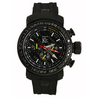 Techno Com KC Men's Black Diamond Carbon Fiber Dial Watch