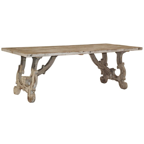 Kosas home vennie distressed pine antique white dining for Distressed white dining table