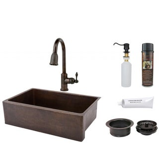Premier Copper Products Pull-Down Faucet Package with Retractable Hose