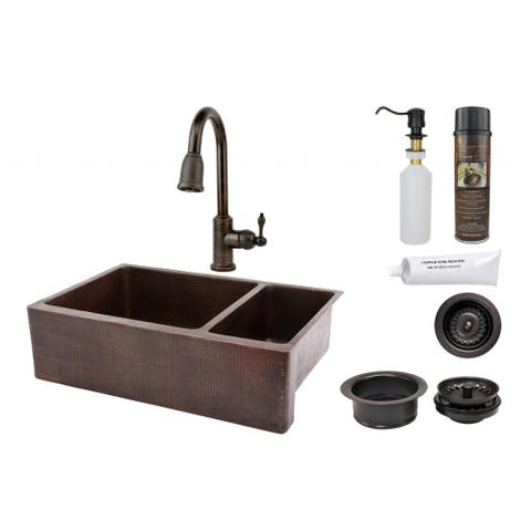 """Handmade 33"""" Hammered Copper Double Basin Sink and Faucet Package (Mexico)"""