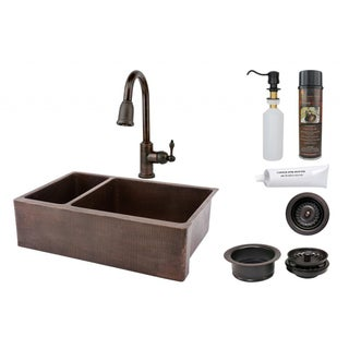Premier Copper Products 33-inch Hammered Copper 25/75 Double Basin Sink and Faucet Package