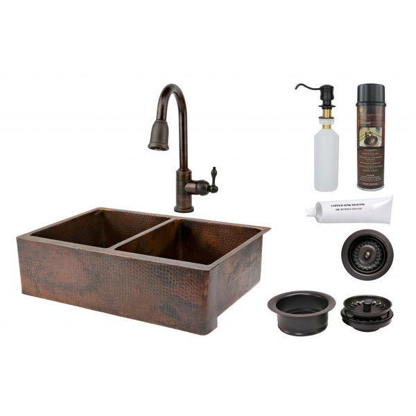 Premier Copper Products 33-inch Hammered Copper 50/50 Double Basin Sink and Faucet Package