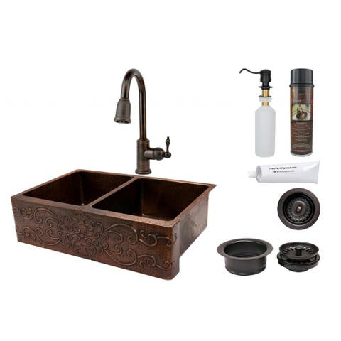 Premier Copper Products 33-inch Scroll Design Copper Hammered 50/50 Double Basin Sink and Faucet Pac