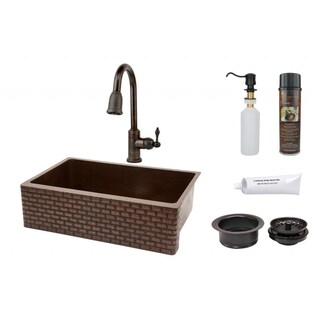 Premier Copper Products 33-inch Tuscan Design Copper Hammered Single Basin Sink and Faucet Package