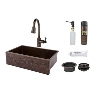 Premier Copper Products 33-inch Scroll Design Copper Hammered Single Basin Sink and Faucet Package