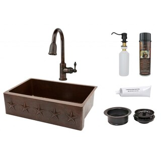 Premier Copper Products 33-inch Copper Hammered Single Basin Sink and Faucet Package