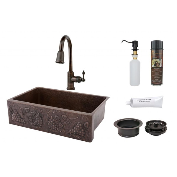 """Handmade 33"""" Copper Hammered Single Basin Sink and Faucet Package (Mexico)"""