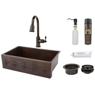 Premier Copper Products Fleur de Lis Basin Sink with Pull Down Faucet Package