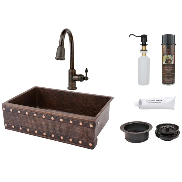 """Handmade 33"""" Single Basin Hammered-Copper Sink with Pull-Down Faucet Package (Mexico). Opens flyout."""