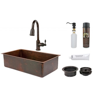 Premier Copper Products 33-inch Single Basin Sink with Pull Down Faucet Package