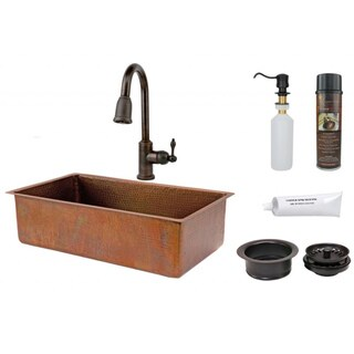 Premier Copper Products 33-Inch Single-Basin Rectangular Sink with Pull-Down Faucet Package