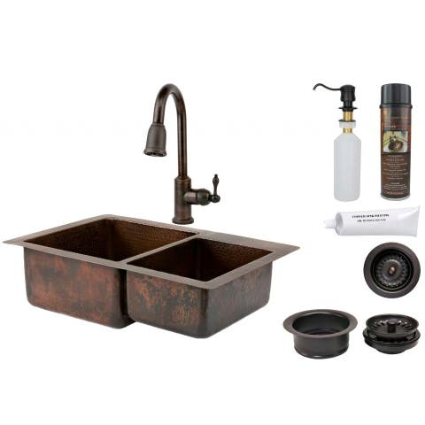Handmade Double Basin Sink and Pull Down Faucet Package (Mexico)