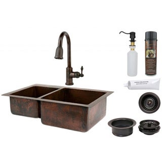 Premier Copper Products 40/60 Double Basin Sink with Pull Down Faucet Package
