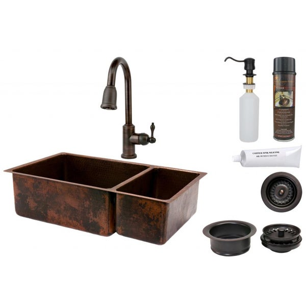 Premier Copper Products 75/25 Double Basin Sink with Pull Down Faucet Package. Opens flyout.