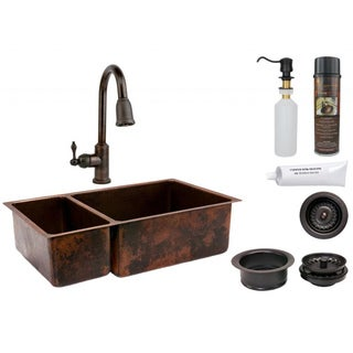 Premier Copper Products 25/75 Double Basin Sink with Pull Down Faucet Package