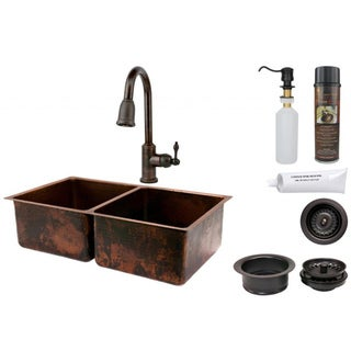 Premier Copper Products 50/50 Double Basin Sink with Pull Down Faucet Package