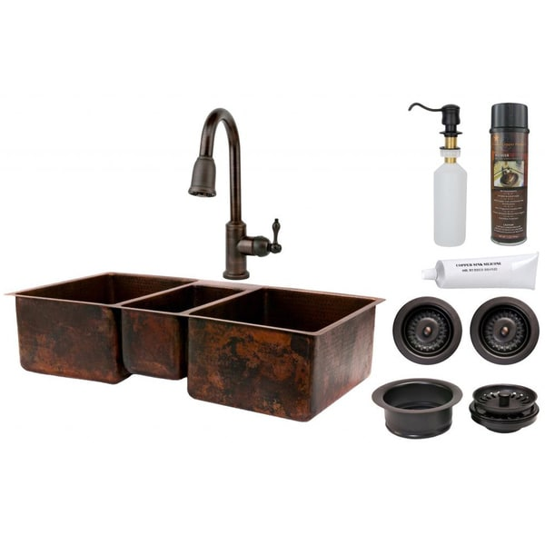 Premier Copper Products Triple Basin Sink with Pull Down Faucet Package