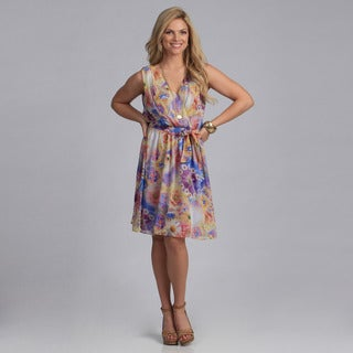 Gabby Skye Women's 'Georgette' Floral Sleeveless Dress