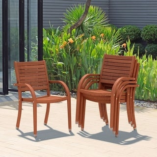 Amazonia Riviera Eucalyptus Stackable Armchairs (Set of 4)