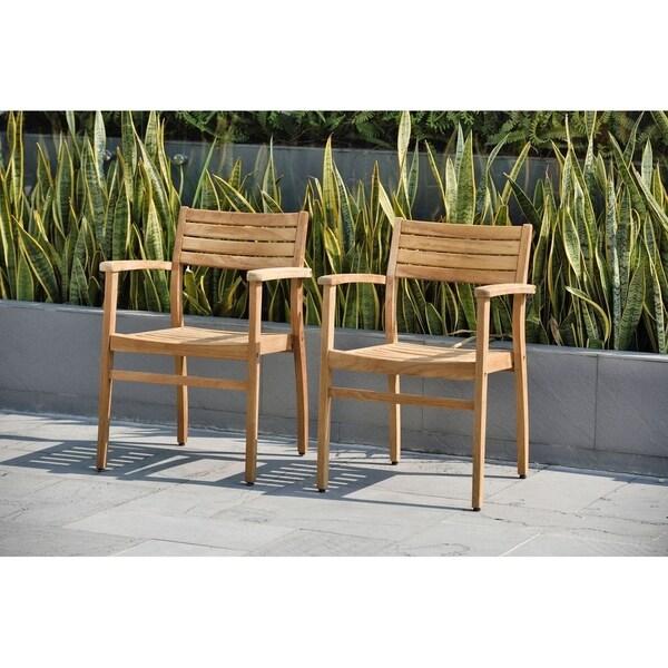 Shop Amazonia Teak Paris Stackable Teak Chairs Set Of 2