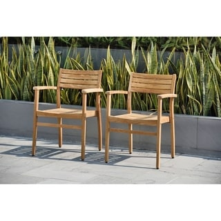Amazonia Teak Paris Stackable Teak Chairs (Set of 2)