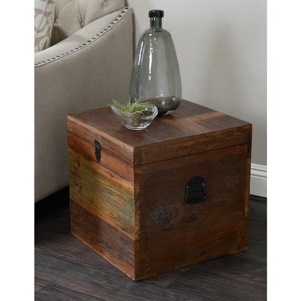 Bali 18-inch Reclaimed Wood Square Box by Kosas Home - Bali 18-inch Reclaimed Wood Square Box By Kosas Home - Free