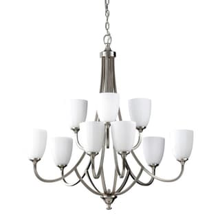 Perry Nine-Light Brushed Steel Chandelier