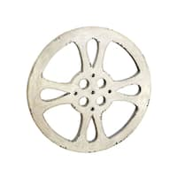 Hollywood Vintage 42-inch Antiqued White Metal Film Reel Accent Decor